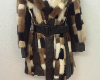 Vintage 1960's Fur and leather Patchquilt Mink Coat STUNNING!!