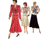 80s Wrap Peplum Top & Skirt Pattern Vogue 9568 Vintage Sewing Pattern Size 14 Bust 36 UNCUT Factory Folded