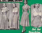 RARE 1950s Swimsuit Skirt & Bolero Pattern Reveille 20 Retro Pouffy Leg Pinup Bathing Suit Bust 34 inches