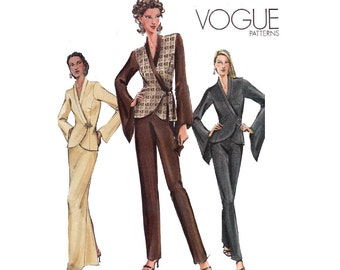 Vogue 7932 Wrap Top Maxi Skirt Pants Pattern Out Of Print Sewing Pattern Size 12 14 16 Bust 34 36 38 inches UNCUT Factory Folds