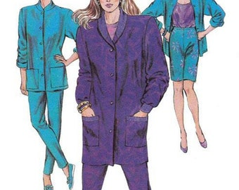 80s Womens Jackets Tights Vintage Sewing Pattern Kwik Sew 1568 Sizes XS - L UNCUT Factory Folds