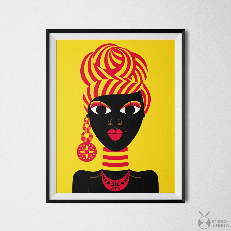 black woman art african woman black girl art african gifts black dolls - African Decor