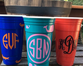 Monogram Cup Personalized Solo Type Cup Sorority Gift Party Cup Bachelorette Party Cup Monogrammed Cup