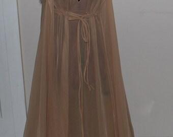 SALE! Mid Century Vintage Intime Peignoir Set with Faux Fur Trim Small
