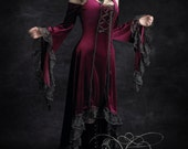 Elisa Romantic Gothic Velvet Dress Hand Made by Rose Mortem - Dark Romantic Couture and Fairy Tale Dresses
