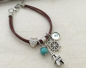 Love Bracelet, Paris Bracelet, Ship Wheel Bracelet, Initial Bracelet, Best Friend Gift, Leather Bracelet, Hand Stamped Jewelry