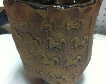 Wild Horses Stoneware Pot