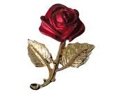 ROSE vintage pin lapel brooch badge