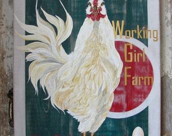 Working Girl Farm original acrylic painting on repurposed wood