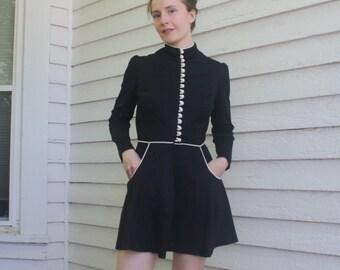 Young Edwardian Mini Dress Black Goth Boho Hippie Mod XS
