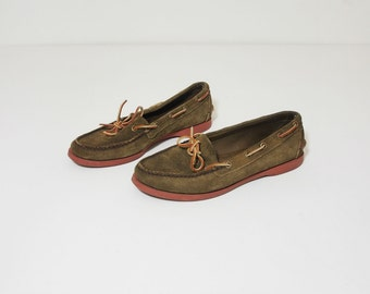 Vintage Ralph Lauren Olive Brown Suede Leather Boat Shoes Loafers Size 8.5 Womens
