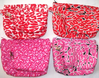 Leopard Print Quilted Coin Purse or Cosmetic Bag,Quilted Inside/Out,Key Clip or Ring,Handcrafted,Your Choice Red,Pink,Black,White Spots