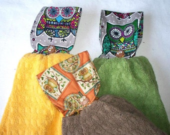 Owl Fabric Topped Double T-Towel, Your Choice of Kaleiddscope Owls with Yellow or Green Towel or Owl Photos with Brown Towel, Extra Heavy