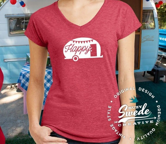 Euro Size T Shirt Cute Design Women Tshirts Fitness Ladies: Happy Camper Ladies' V-Neck T-Shirt Camping Shirt