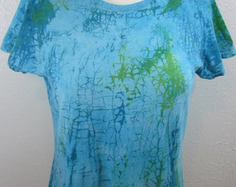 Crackle Tie Dye Turquoise Size Large