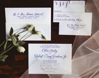 The West Linn -- Letterpress Wedding Invitations - sample pack