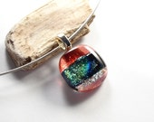Small Glass Pendant, Fused Glass Necklace, Pink Dichroic Jewelry