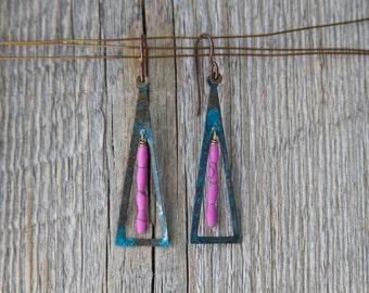 SEBASTOPOL. Blue brass patina triangle with handmade lilac jade earrings.