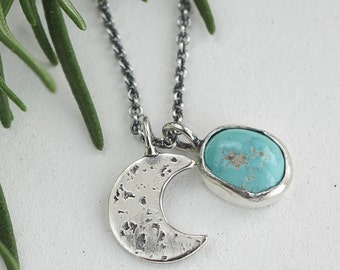 Layering Tiny Turquoise Drop and Crescent Moon Charm Necklace, sterling silver necklace, Turquoise necklace, southwestern necklace