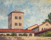The Cloisters, New York City. Realist Oil Painting Landscape, 6x8 Plein Air Impressionist Oil on Panel, Signed Original NYC Fine Art