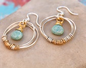 Wire Wrapped Hoops with Semi Precious Stone Amazonite Drops