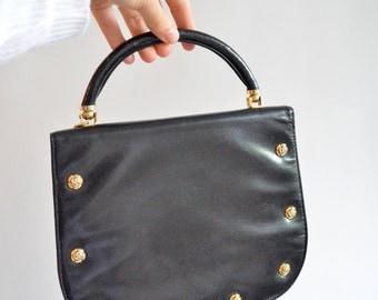 Vintage 1950s LEATHER studded handbag