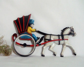 Horse and Buggy Homco Wall Decor Vintage Plaque 1975