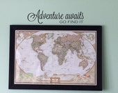 CLEARANCE 50% OFF Adventure awaits go find it - Travel Vinyl Wall Decal - Clearance Decal - Map Vinyl Wall Decal