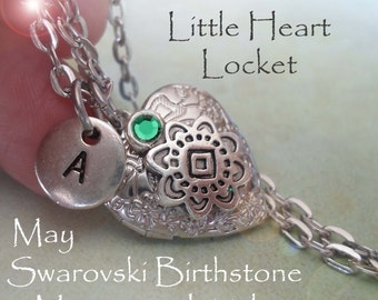 Petite Locket, May Emerald Swarovski Crystal Necklace, Custom Letter, Sizes For Everyone, Little Girls, Teens, Bridesmaids Gifts