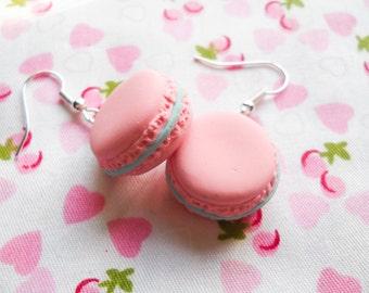 Pastel French Macaron Earrings, Macaroon, Pastel, Food Earrings, Cute Earrings, Sweet Lolita, Kawaii, Polymer Clay, Pink, Blue