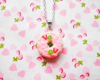 Strawberry Kiwi Doughnut Necklace, Donut Necklace, Food Necklace, Dessert Necklace, Miniature Food, Doughnut, Donut, Lolita, Kawaii