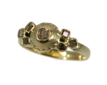 Antique diamond ring Rare 18th century diamond and gold ring - French antique ring 18k yellow gold table cut diamonds c.1750