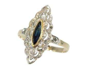 Sapphire Diamond Elongated Ring - Belle Epoque Art Deco engagement ring c.1920 blue navette cut sapphire rose cut diamonds 18K yellow gold