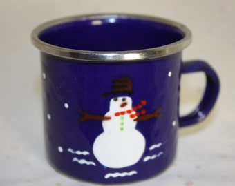 Enamel Snowman Cup Small Size Metal rimmed Snow and Snowman both sides Excellent condition Child Sized Dark Blue White Mug Drinking Vessel