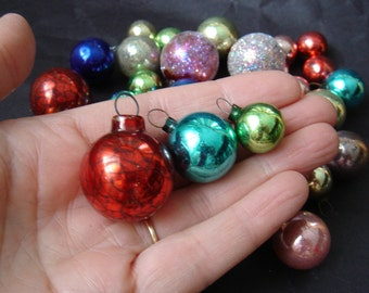 34 Vintage Glass Mini Christmas Tree Ornaments Multi Colored - Feather Tree Ornaments