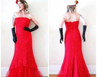 vintage 80s 90s does 50s red lace mermaid gown dress / strapless bomshell costume Halloween Katniss girl on fire