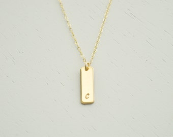 Vertical Gold Bar Initial Necklace - small gold filled charm smooth / hammered dainty everyday simple handmade initial jewelry adenandclaire