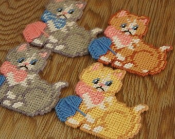 Vintage 80s Embroidered Cats Coasters/ Wall Decor/ Kitsch/Crazy Cat Lady/Bohemian chic/Retro