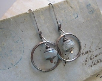 handmade earrings - sterling silver and rainbow moonstone - hand forged sterling - M2