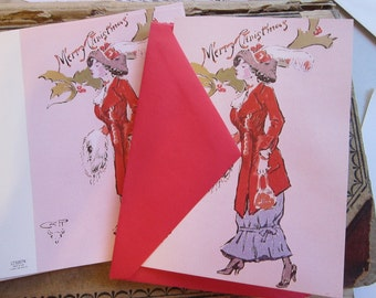 10 vintage Christmas cards - Merry Christmas cards - CM Russell - Victorian lady - Leanin' Tree - Charles M. Russell greeting cards