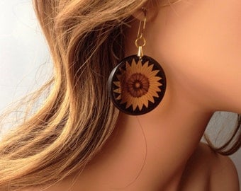 Sunny Yellow Sunflower Translucent Resin Earrings