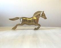 Heavy horse brass figurine, running horse statue, gift for horse lover, horse figure, large brass horse ornament, brass animal figurine