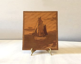 Vintage marquetry wall hanging, wood picture, mid century wood inlay picture, marquetry picture, vintage ship picture, wood marquetry art