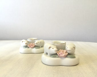 Pig and rose heart shaped candle sticks candlesticks 80s 1980s china pink white