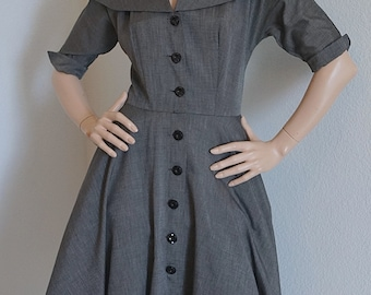 Vintage 50s Dress / 1950s Billy Dee Black and White Check Dress / 50s New Look Dress with Full Skirt / 1950s Shirtwaist Dress