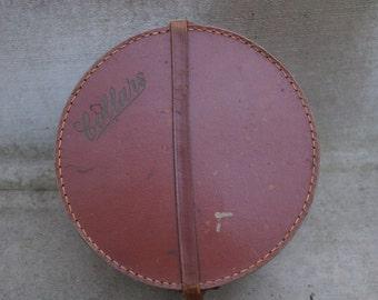 Antique English Leather Collar Box / Vintage Brown Leather Storage Box / Gentlemen's Gift Box / Luggage Storage Box
