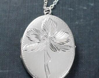 Large Oval Sterling Silver Locket Necklace, British Hallmarks 1977 Vintage Flower Engraved Photo Locket - Lily