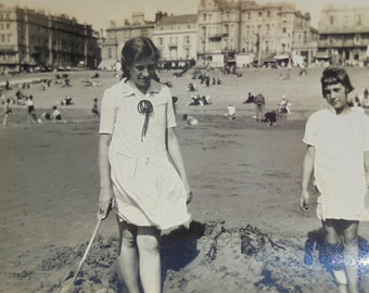 Vintage Summer Photo - Playing in the Sand on the Beach