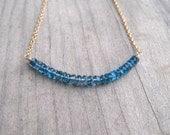London Blue Topaz Necklace, Gold Filled, Bar Style Layering Necklace, Minimalist Jewelry, December Birthstone, Blue Topaz Jewelry