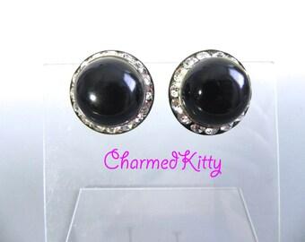 Vintage 40s Black Bakelite and Rhinestone Earrings - 1940s Noir Glamour Earrings